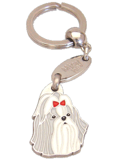 SHIH-TZU GREY RED - pet ID tag, dog ID tags, pet tags, personalized pet tags MjavHov - engraved pet tags online